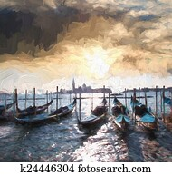 Venice with gondolas, Italy, Oil painting