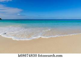 Waves and foam on Seychelles paradise beach