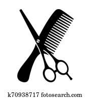 Black and white comb and scissors silhouette