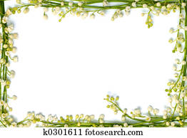 Lily of the valley flowers on paper frame border isolated horizontal background