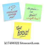 Weight loss, diet motivational notes, white background