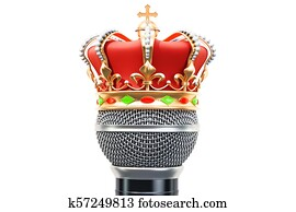 Microphone with golden crown, 3D rendering