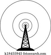 Vector radio tower broadcast Clip Art | k16035178 | Fotosearch