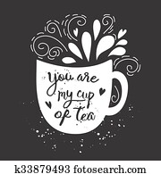 Vector vintage style card with cup silhouette and text -You are my cup of coffee