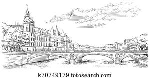 vektor, hand, zeichnung, paris, 5