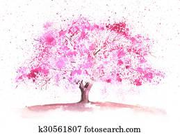 Watercolor spring tree