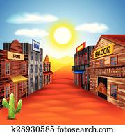 Wild west town vector background