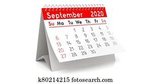 September 2020 - table calendar - 3D illustration