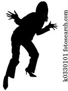 Silhouette of Happy Woman