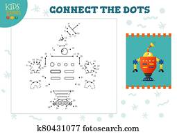 verbinden punkte, kinder, mini, spiel, vektor, illustration., vorschulisch, kindern, bildung, aktivit?t