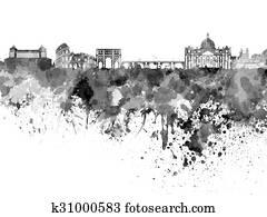 Rome skyline in black watercolor