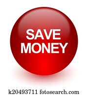 save money red computer icon on white background