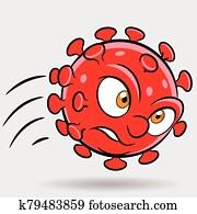 Cartoon Attacking Red Coronavirus
