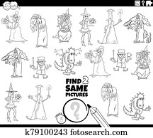 find two same fantasy characters color book page