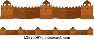 Great Chinese Wall old architecture famous attributes.