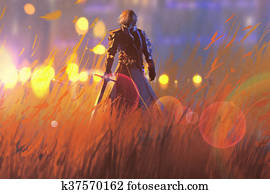knight with sword in field