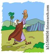 Patriarch Abraham and his newborn son Isaac