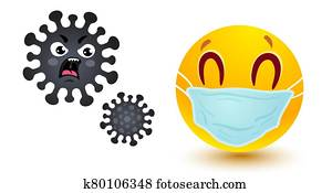 Smile in medical mask and angry coronavirus