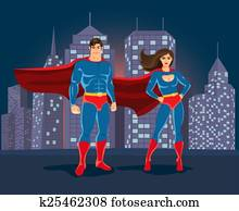 Superheroes on urban landscape backgound