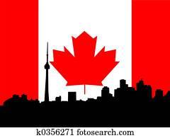 Toronto skyline against Canadian Flag