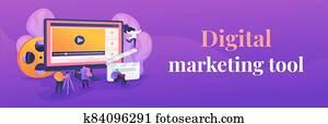 Video content marketing web banner concept.