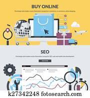 E-commerce and SEO flat banners