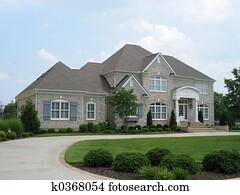 gray brick house