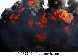 explosion and black smoke