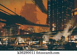futuristic industrial cityscape