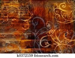 grunge swirls stairs background