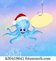 octopus celebrate Christmas