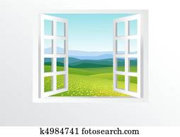 Open window and nature