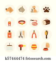 Pets Grooming Shop Icons Set