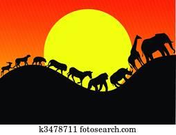 Animal africa silhouette