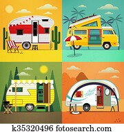 camping, trailers., vektor, illustration.