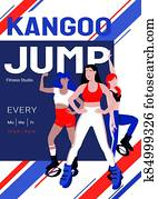Kangoo jump zumba and latina class advertisement poster template. Females in sport outfit and bounce shoes doing knee up jump, jumping jacks exercises. Cardio fitness and weight loss, HIIT training.