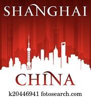 shanghai, china, stadt skyline, silhouette, roter hintergrund