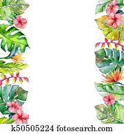Tropical Hawaii leaves frame in a watercolor style.