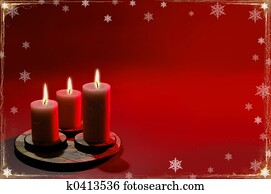 Christmas Background With Three Candles