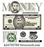 five dollar bill elements