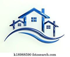 Logo Blue Houses with waves
