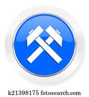 mining blue glossy web icon