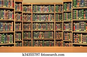 Table on background of bookshelf full of books . Old library.