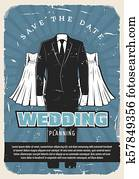 Wedding retro poster with bridal dress and suit