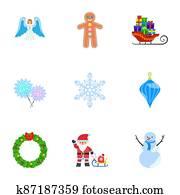 Winter Christmas icon set, flat style