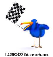 3d Blue bird waves the checkered flag