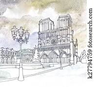 Drawing of Notre Dame de Paris, France