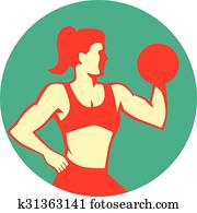 Clipart of , dumbbell, female, fitness, trainer, weight ...