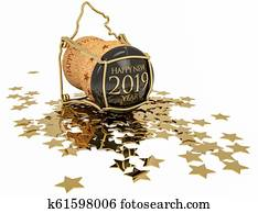 happy 2019 chmpagne stopper, 3d illustration