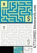 leicht, alphabet, labyrinth, -, buchstabe s